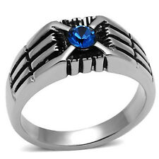 MEN'S MACHINE ENGRAVED MONTANA BLUE AAA CRYSTAL STAINLESS STEEL RING SIZE 8-13