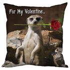 "MEERKAT ROSE DESIGN CUSHION PERFECT VALENTINES DAY GIFT 18"" x 18"""