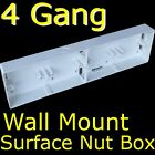 4 GANG SINGLE Socket / switch 25mm WALL MOUNT SURFACE BOX DIY Wiring Accessories