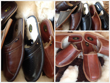 New Mens Brown Leather Slippers Shoes Size 7 8 9 10 11 12 13 Luxury Flip-Flop