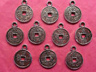 Tibetan Silver Chinese Coin/Chinese Wish You Luck Coin Charm - 10 per pack