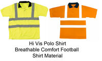 Hi-Viz Vis Visibility Polo Shirt Yellow Orange T Shirt S M L XL XXL 3XL 4XL