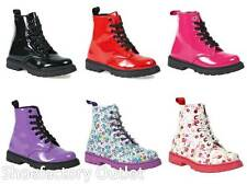 GIRLS KIDS COMBAT STYLE FUNKY PUNK GIRLS FASHION ANKLE BIKER BOOTS SHOES SIZE
