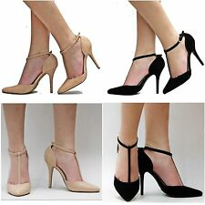 New Women JMm Black Beige Nude T-Strap Pointy Toe Pointed High Heels sz 6 to 10