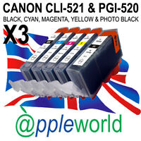 15 CLI521 & PGI520 CHIPPED Ink Cartridges compatible with CANON PIXMA printers