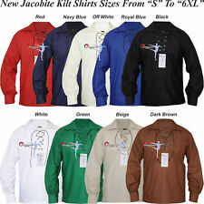 """Ghillie Jacobite Shirt, White & Black for kilt (S to xxl) with 42"""" leather cord."""