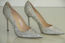 New Manolo Blahnik BB 105 Silver Crystals JEWELED Pumps Wedding Shoes 40 41