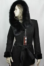 NEW 100% GENUINE BLACK SUEDE SHEARLING LEATHER TOSCANA FUR HOOD COAT JACKET S-6X