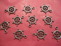 Tibetan Silver Helm/Ships Wheel Charms 10 per pack nautical themes