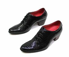 Formal Casual Pointed Toe Lace Low High Heel Faux Leather  Mens Dress  Shoes