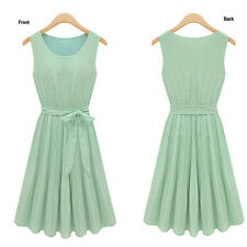 2014 Summer Womens Fashion Sleeveless Pleated Sundress Snow Spins Dresses