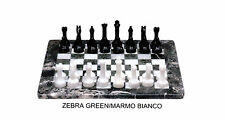 Scacchiera in Marmo Bianco e Zebra Green Marble Chess Set Classic Home Design