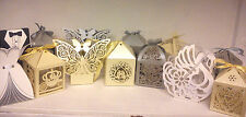 Paper wedding favour boxes table decoration love heart bird swan rose silver