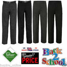 BOYS KIDS BACK TO SCHOOL UNIFORM STURDY STOCKY ELASTICATED PULL UP BELT TROUSER