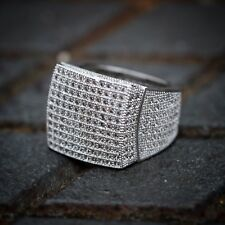 Men's Micro Pave White Gold Plated Lab Diamond Iced Out Ring