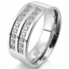 8mm Polished Stainless Steel CZ Engagement Wedding Band Men's Ring Size 7-13