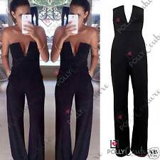 Womens Celeb Black Plunge Flared Jumpsuit Party Dress Boutique Maxi Playsuit