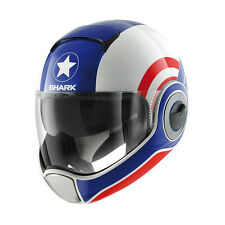CASQUE INTEGRAL SHARK VANTIME COSPLAY/ WHITE BLUE RED MOTO SCOOTER HARLEY