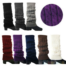 Womens New Trendy Knitted Braided Leg Warmers Long Stocking Boot Cuffs Socks