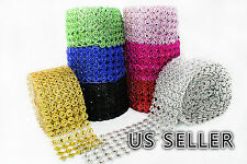 "3.75"" 1-10 Yards Diamond Flower Mesh Wrap Roll Crystal Rhinestone Sparkle Ribbon"