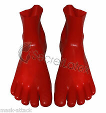LATEX HOT RED GUM SECOND SKIN SOCKS FEET TOES FOOT RUBBER FETISH ADULT DOLL BODY