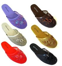 Womens Chinese Mesh Floral Beaded Sequined Slipper Multi-color Size 6-10-*1313*