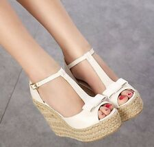 Ladies Cute Ankle Strap Shoes Straw Plaited Wedges T strap Lolita Sandals