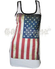 USA FLAG AMERICAN WHITE AGED VINTAGE LONG VEST TOP DRESS 8-22 OLYMPICS