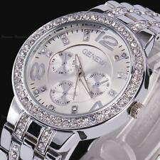 Geneva Women Lady Gold Dial Crystal Rhinestone Steel Quartz  Wrist Watch