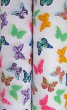 Colourful Butterfly Polycotton Fabric Metre Multi Coloured Bright & Beautiful