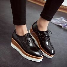 Womens Oxfords Wedge Mid Heels Platform Gothic Lace up Brogue Creeper Shoes New