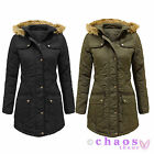 Ladies Fur Hooded Padded Quilted Womens Military Parka Jacket Coat Size 8-16