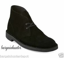 NEW CLARKS MENS BUSHACRE 2 DESERT BOOT BLACK SUEDE CASUAL CHUKKA BOOTS 82288
