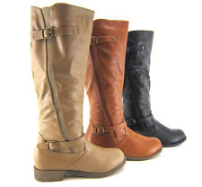 Women Fashion Boots Knee High Military Riding Motorcycle Combat Faux Leather ZIP