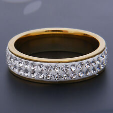 New Classic Men 18K Gold Plated Crystal Stainless Steel Chain Ring Size 8.5-10.5
