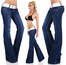 Women's Stretch Bell-Bottom Flare Denim Jeans + Belt - XS / S / M / L / XL