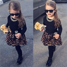 Kids Baby Girls Long Sleeve Black Tops+Leopard Pants Hot Shorts 2Pcs Suit Outfit