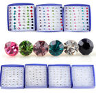 20Pairs Lots Multi-form Crystal Earrings Stud 1 Box Allergy Neddle 2mm-5mm Gift