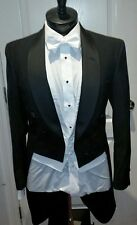 "Men's 6-Button Ballroom Wool Black ""White Tie"" Full Dress Tailcoat Jacket Chaps"