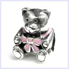 Sterling Silver Enamel Pink Teddy Bear Screw-on Bead f/ European Charm Bracelets