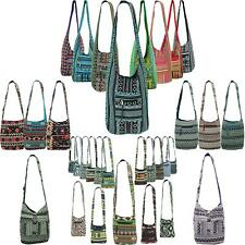 HIPPIE FESTIVAL COTTON CANVAS SLING SHOULDER BAG DIAMOND PATTERN- 5 COLOURS