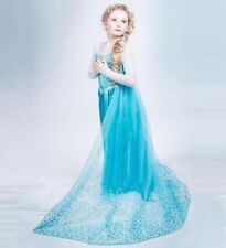 Mädchen Frozen Elsa Perlen Tüll Kleid Kostüm Cosplay Party Dress Eiskönigin