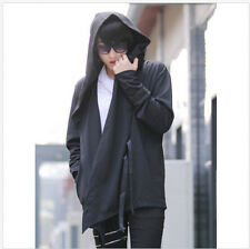 Mens Hooded Slim Retro Cardigans Capes Cloak Hip-Hops Causal Long Black Outwear