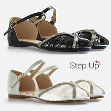 NEW Womens Peeptoe Ankle Strap Lace Diamante Detail Flat Evening Summer Sandals