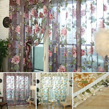 Chic Panel Sheer Drape Scarfs Valances Floral Pattern Tulle Voile Window Curtain