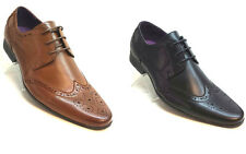 New Mens Brown Leather Smart Formal lace up Brogue Dressy Shoes Boot 7 8 9 10 11
