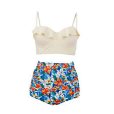 Vintage Retro High Waisted Floral Push-up Bandeau Bikini Set Swimsuit Swimwear