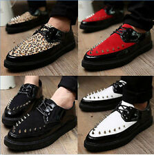 YE Mens Punk Chunky Spike Leopard Oxford Flat High Platform Creeper Brogue Shoes