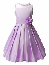 Sheer Neckline Satin Tea Length Flower Girl Dress