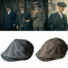 Vintage Wool Tweed Cabbie Newsboy Gatsby Cap Mens Ivy Golf Driving Flat Hats